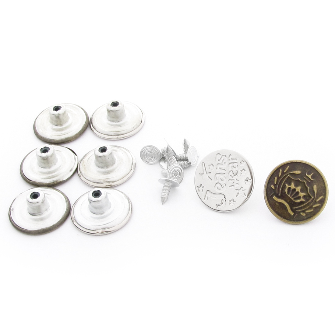 8 Pcs Repair Part Silver Tone Metal Carved Words Jeans Buttons