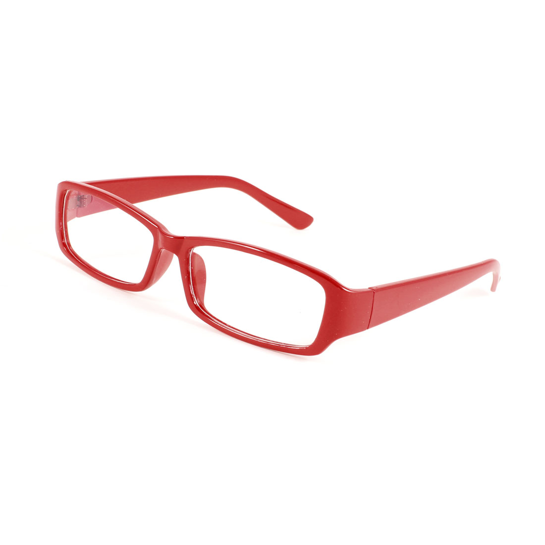 Women Full Frame Rectangle Multi Coated Lens Plano Plain Glasses Red