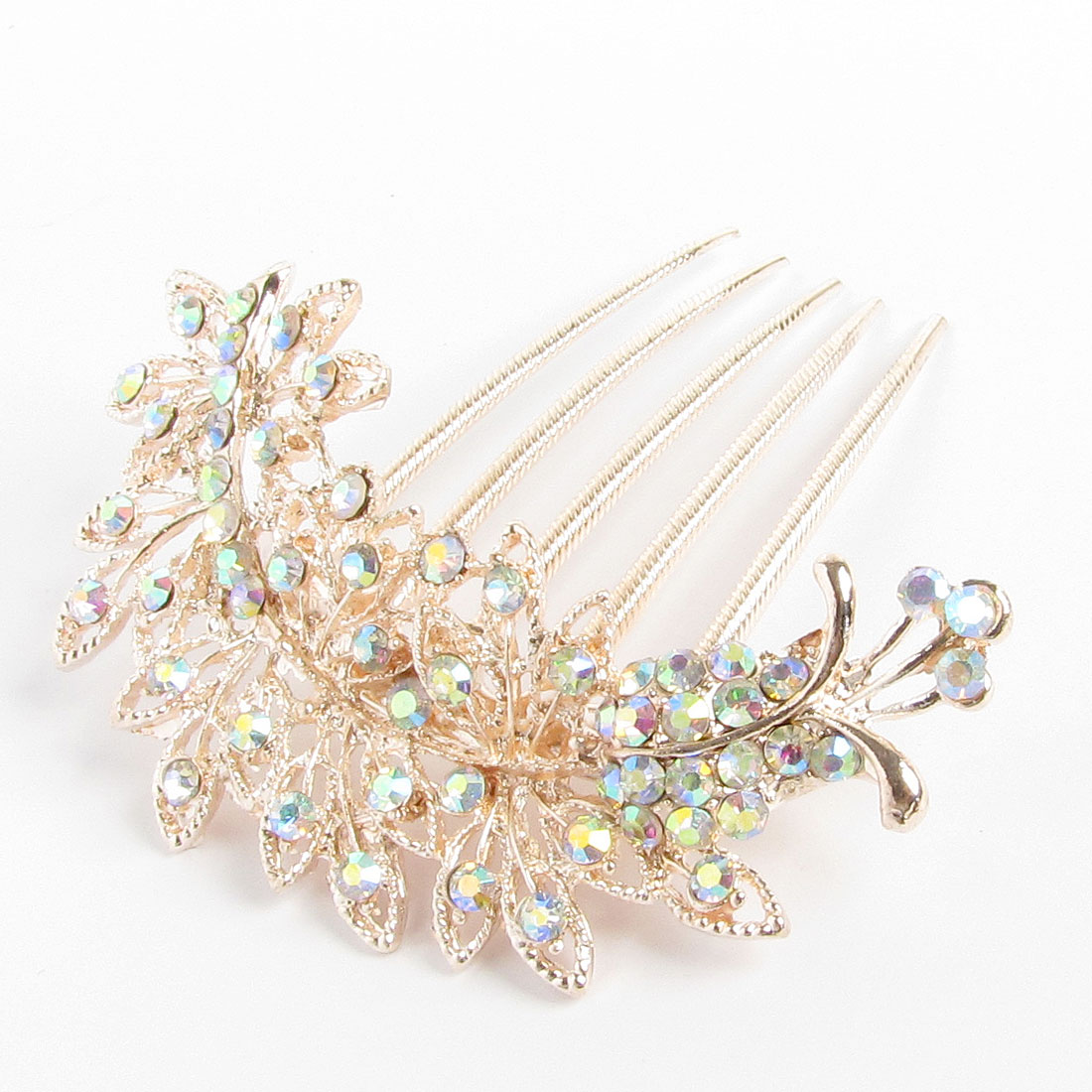 Glittery Faux Rhinestone Inlaid Flower Deocr Metal Hair Comb Clip Copper Tone