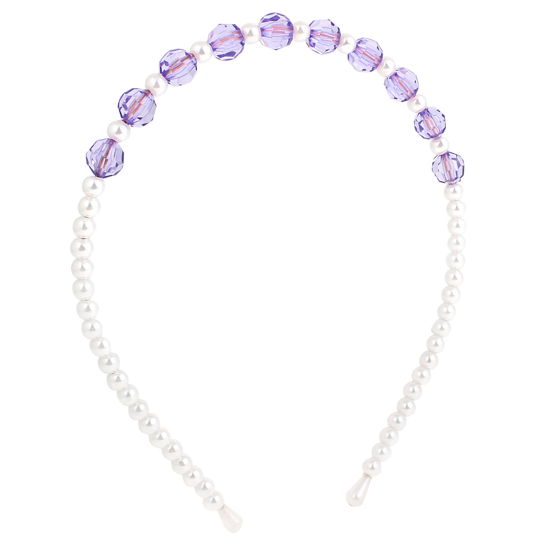 White Purple Plastic Crystal Beads Headband Hair Hoop Ornament for Girls