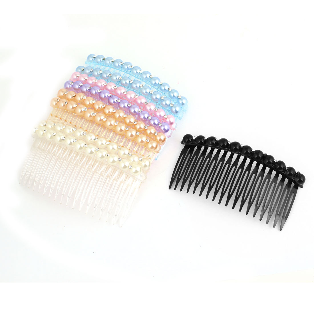 9 Pcs Colorful Plastic Imitation Pearls Rhinestone Decor 18 Teeth Hair Clip Comb