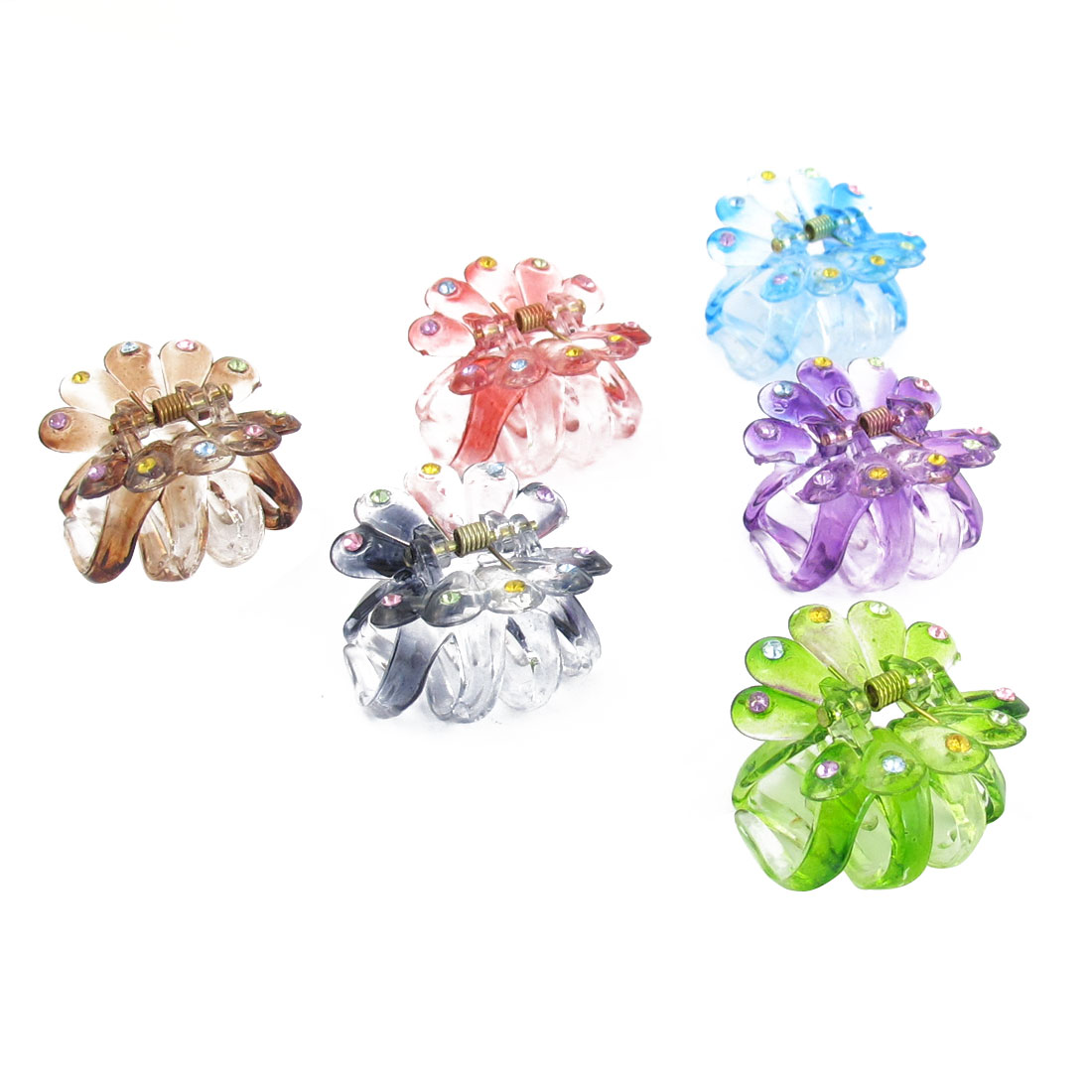 6 Pcs Colorful Plastic Rhinestone Inlaid Hair Claws Clips for Ladies