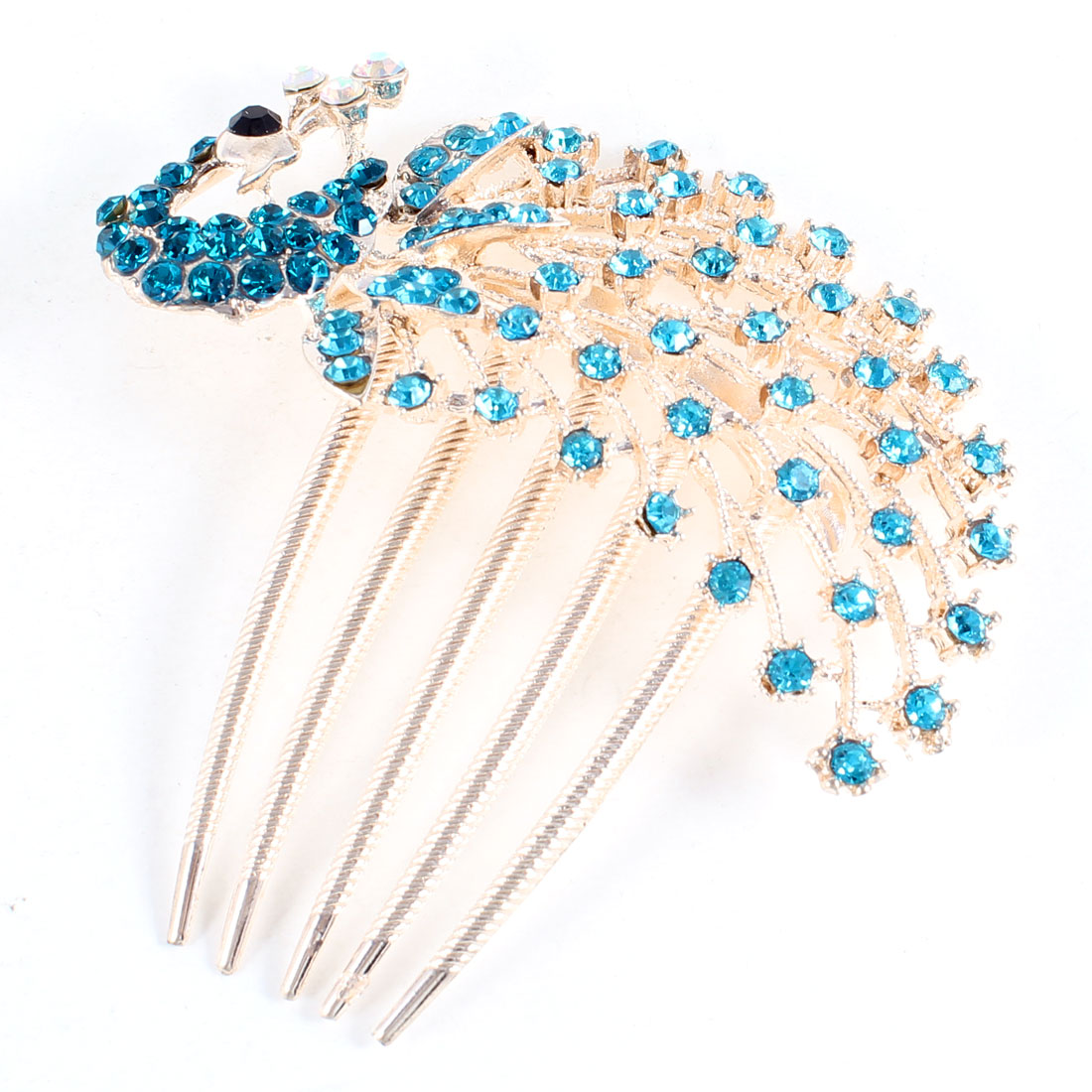Teal Blue Rhinestone Inlaid Peacock Design 5 Teeth Hair Clip Comb for Ladies