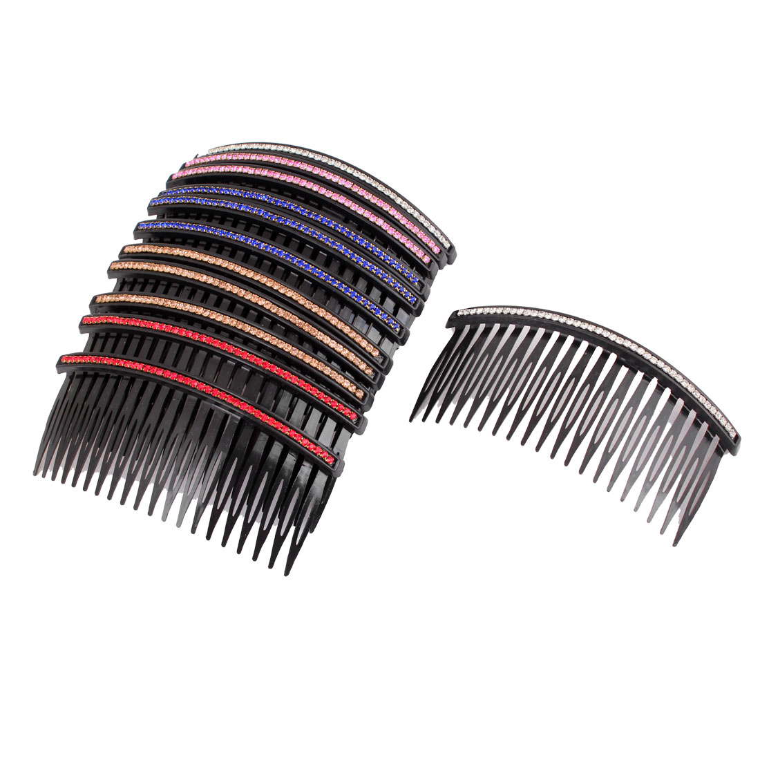 12 Pieces Colorful Rhinestone 20 Teeth Hair Clip Comb Ornament for Ladies