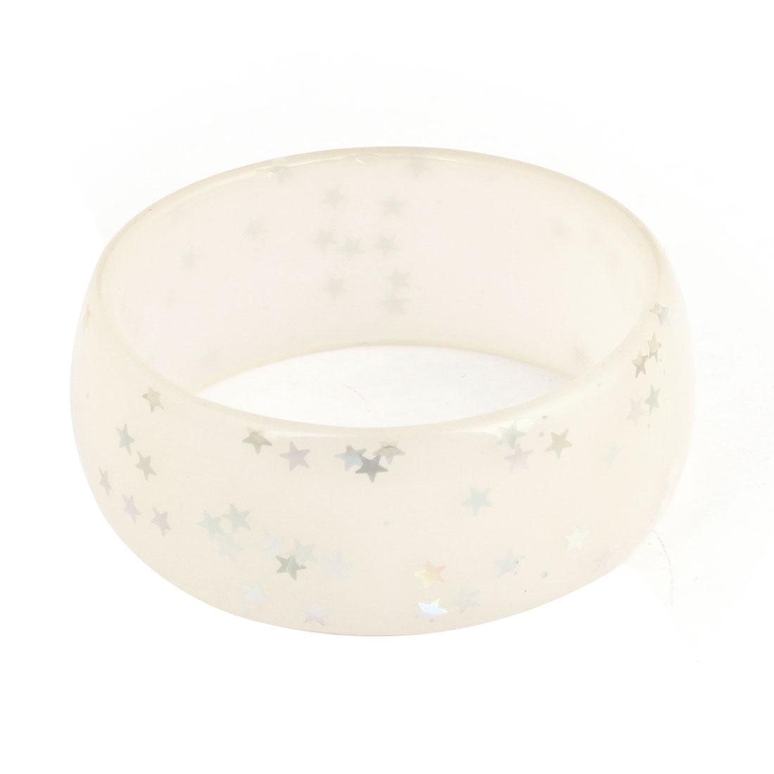 Clear White Plastic Glittery Star Pattern Wrist Ornament Bangle Bracelet