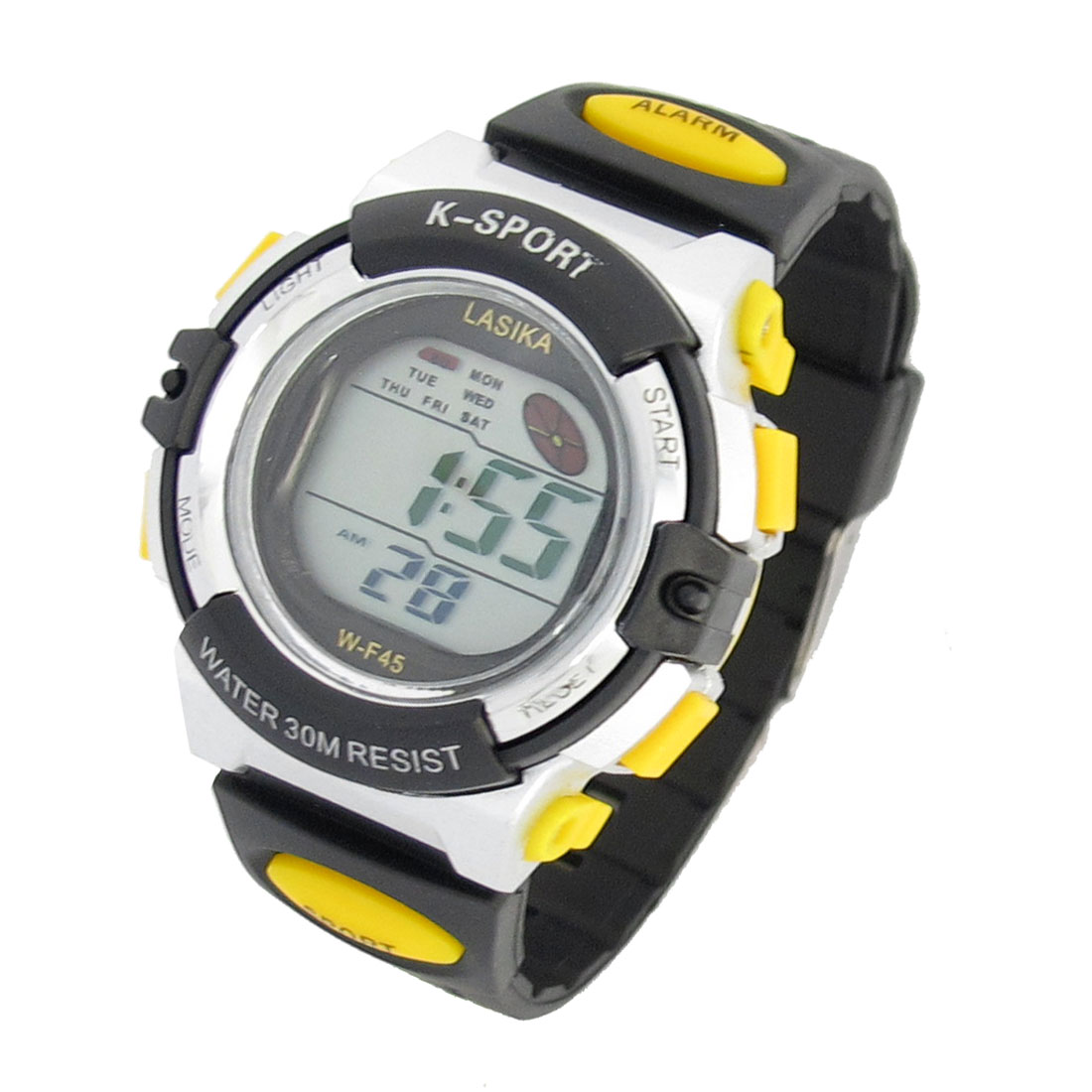 Kids Adjustable Band Round Dial Chime Stopwatch Wrist Sports Watch Black Yellow