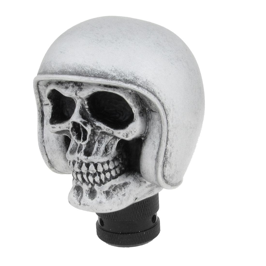 Automobile Car Silver Gray Hat Manual Skull Shape Head Gear Shift Knob