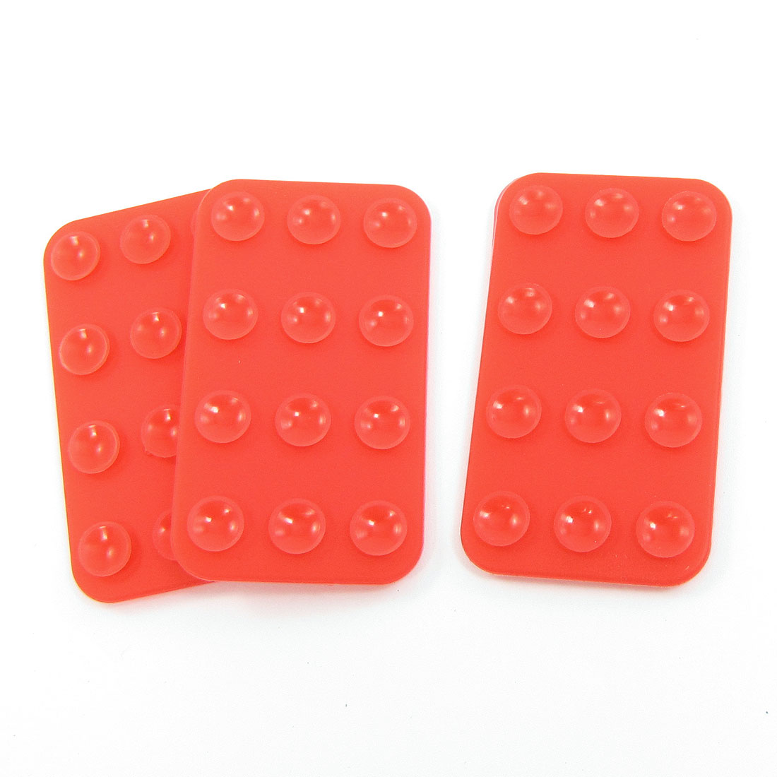3PCS Silicone Rectangle Double Side Suction Cup Red for Cell Phone