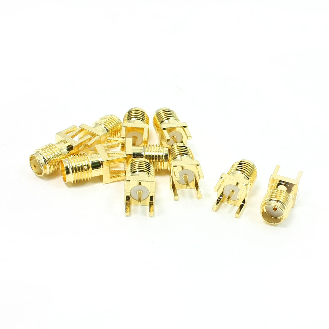10Pcs Gold Tone Metal 4 Pin SMA Female Straight PCB Mount RF Connector
