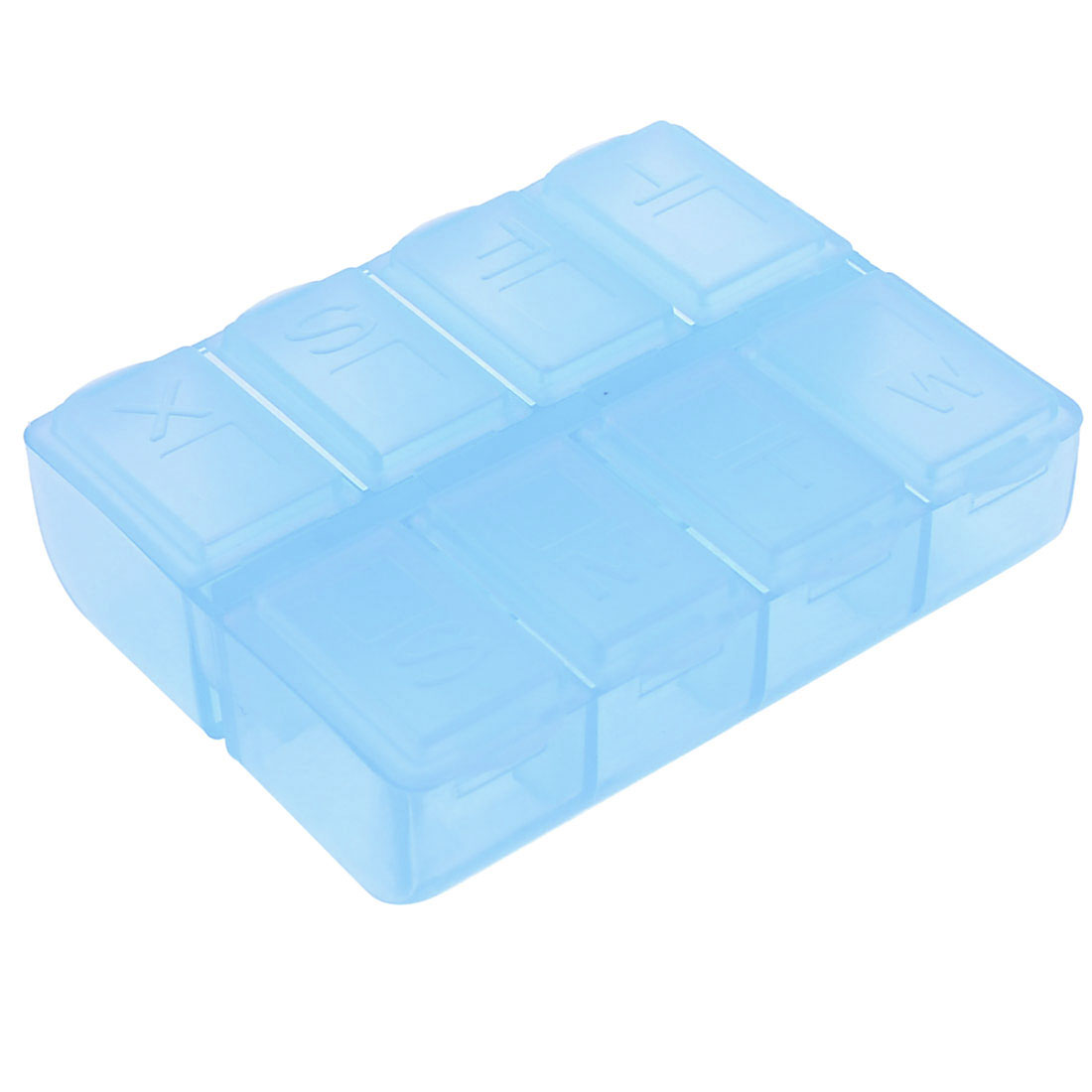 Travel Plastic 8 Compartments Gadget Pill Organizer Box Blue 7.3cm x 5.8cm x 2cm