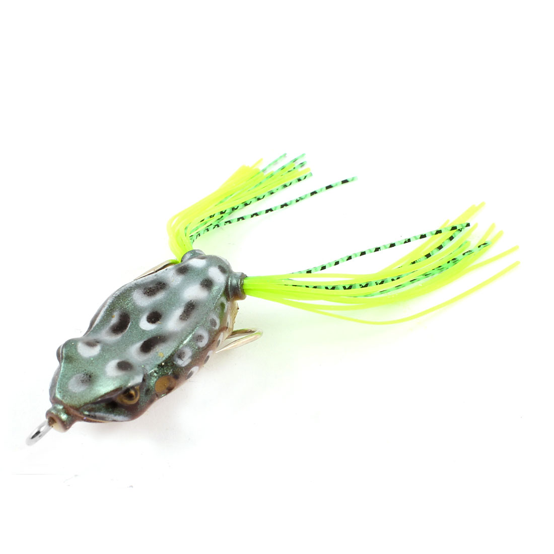 Yellow Green Black Soft Silicone Frog Shaped Lure Fishing Bait w Metal Hook