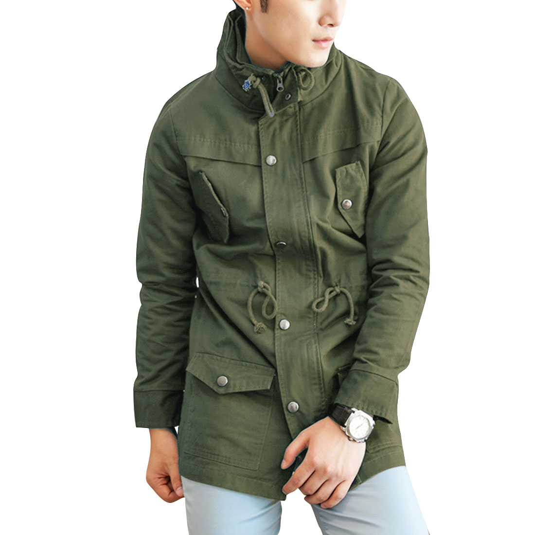 Chic Drawstring Waist Zip-Up Closure Army Green Trench Coat for Man M