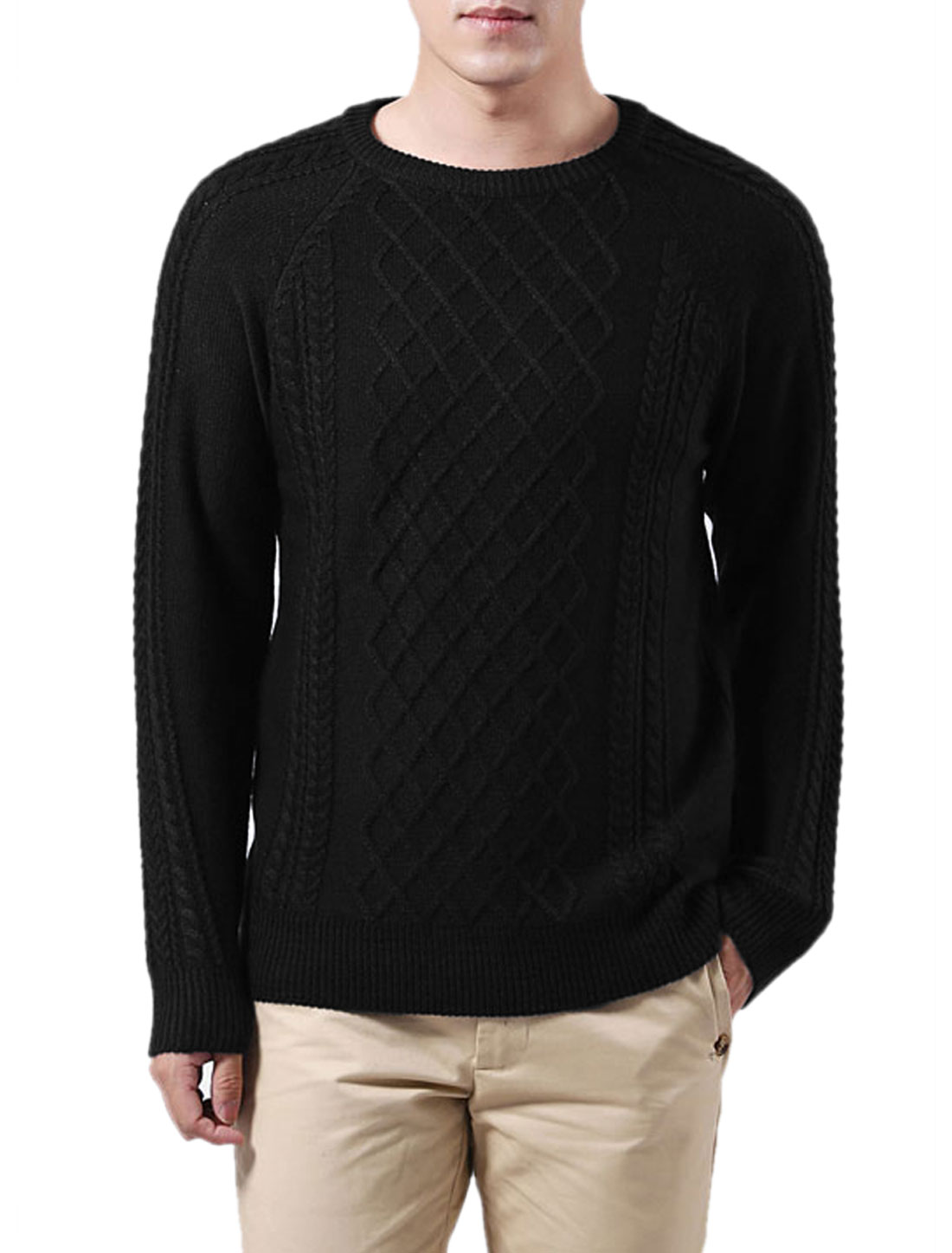Stylish Pure Black Textured Design Fall Winter Sweater for Man M