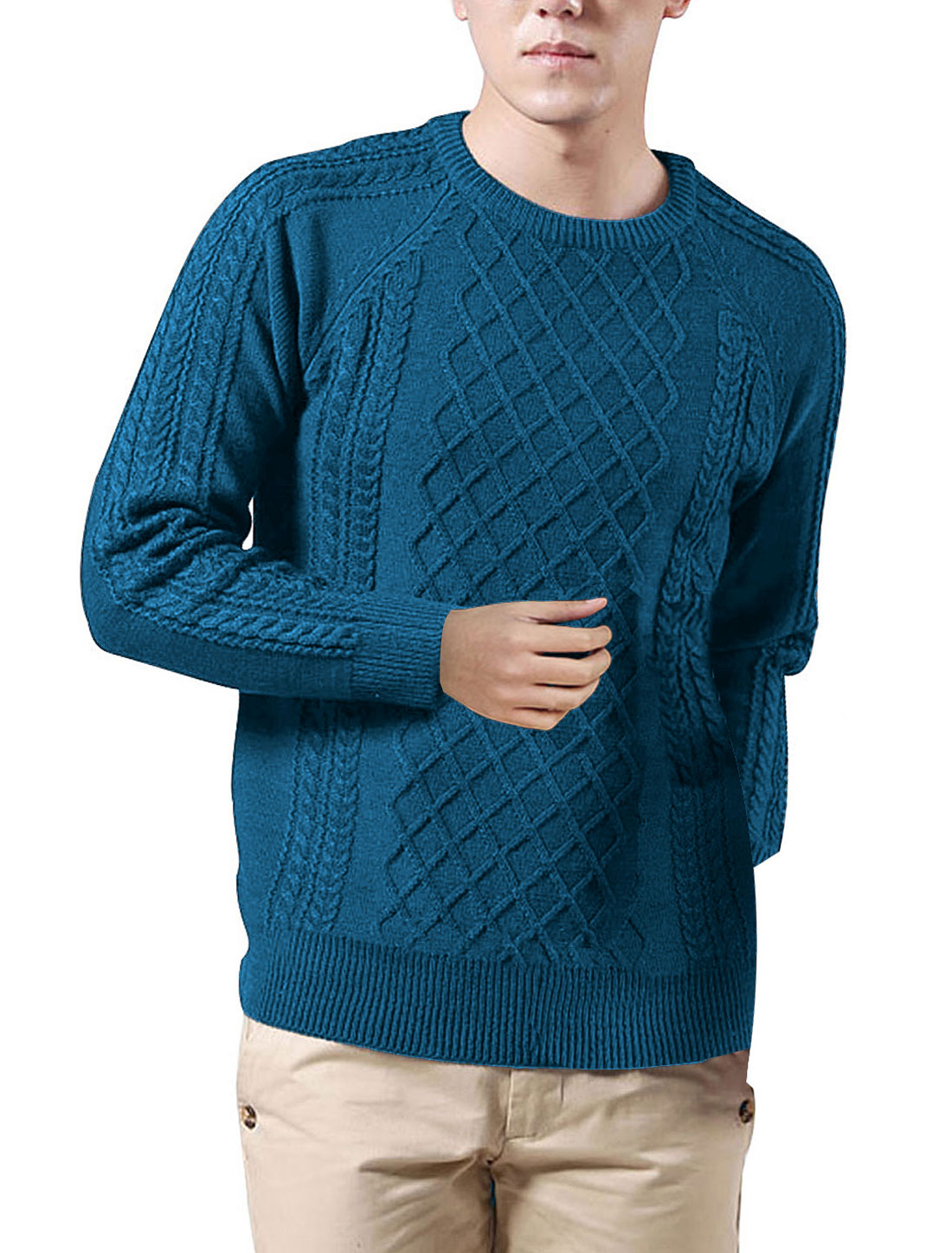 Man Round Neck Long Sleeve Textured Pattern Turquoise Color Sweater M