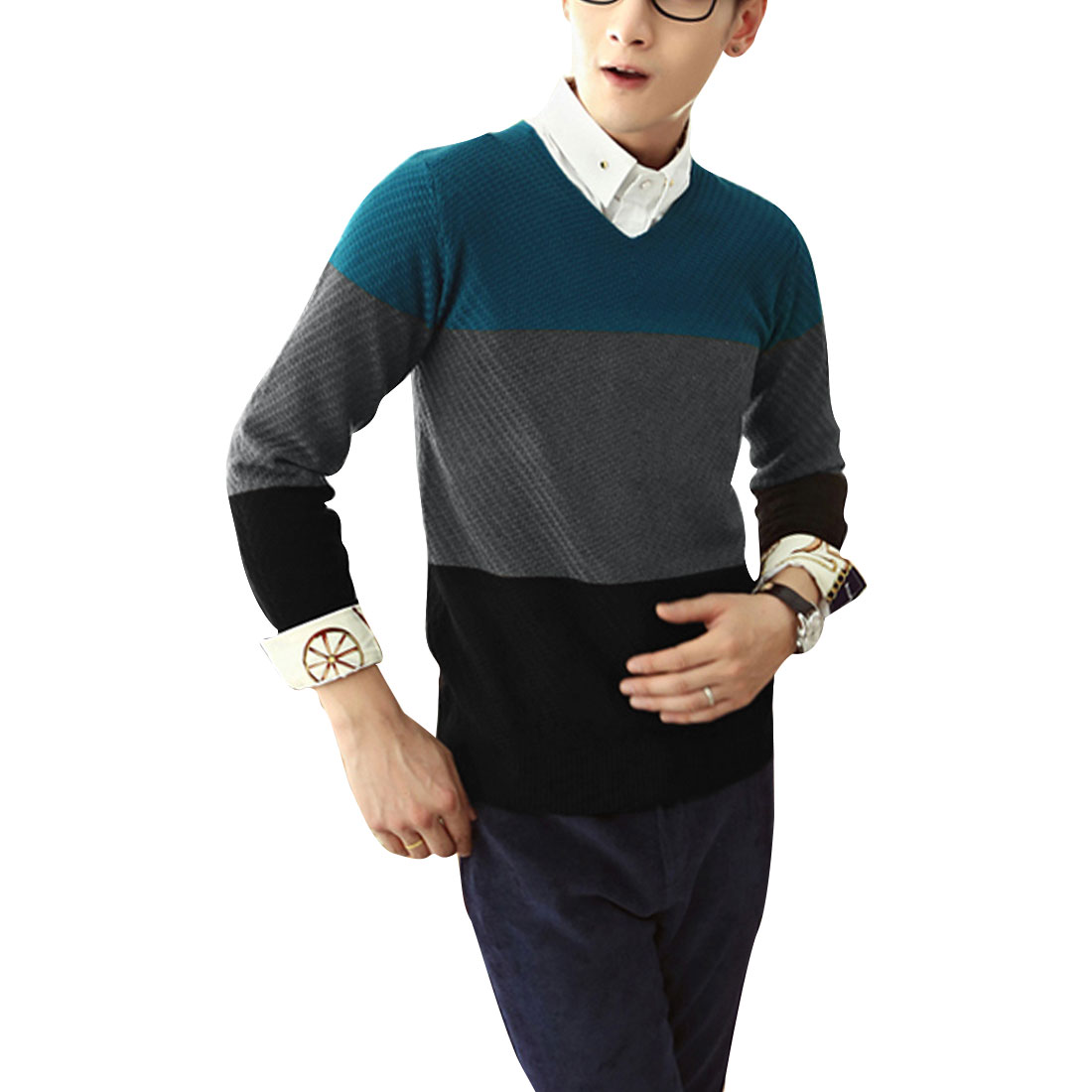 Men's Fashion Long-sleeved Elastic Color Block Blue Sweater M