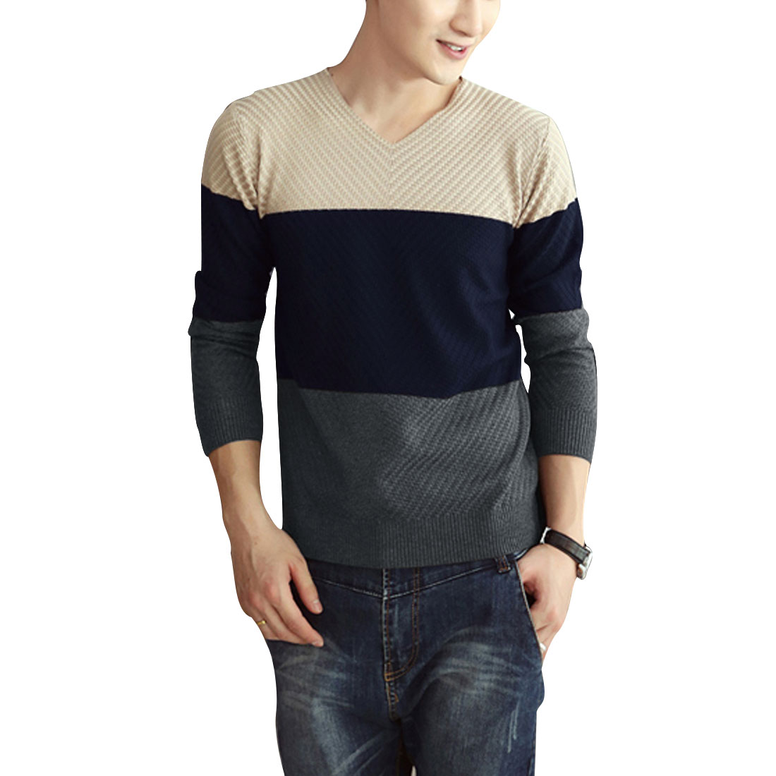 Men's Chic Color Block Casual V Neck Pullover Apricot Knitted Sweater M