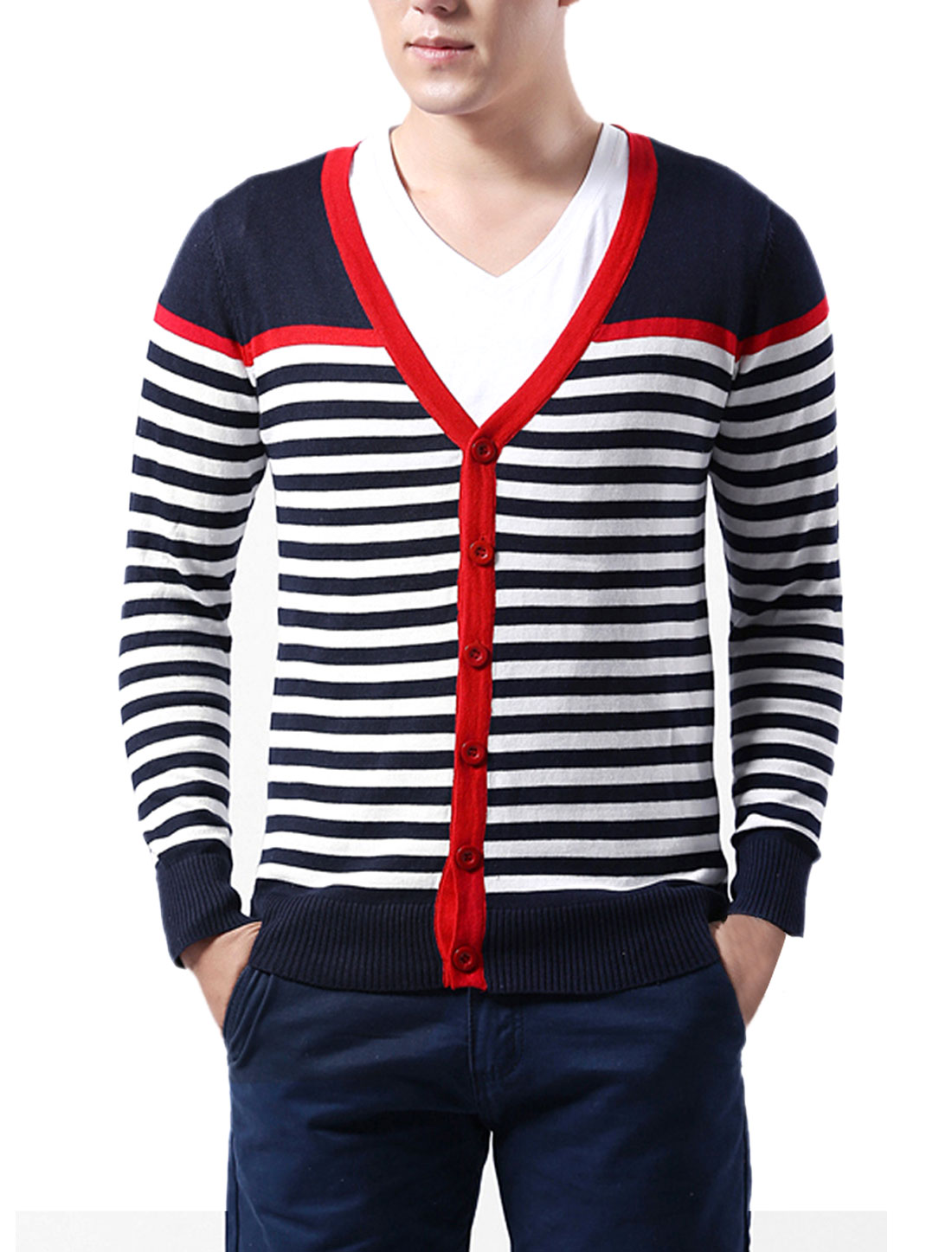 Men NEW Dark Blue White Contrast Color Striped Casual Cardigan Coat S