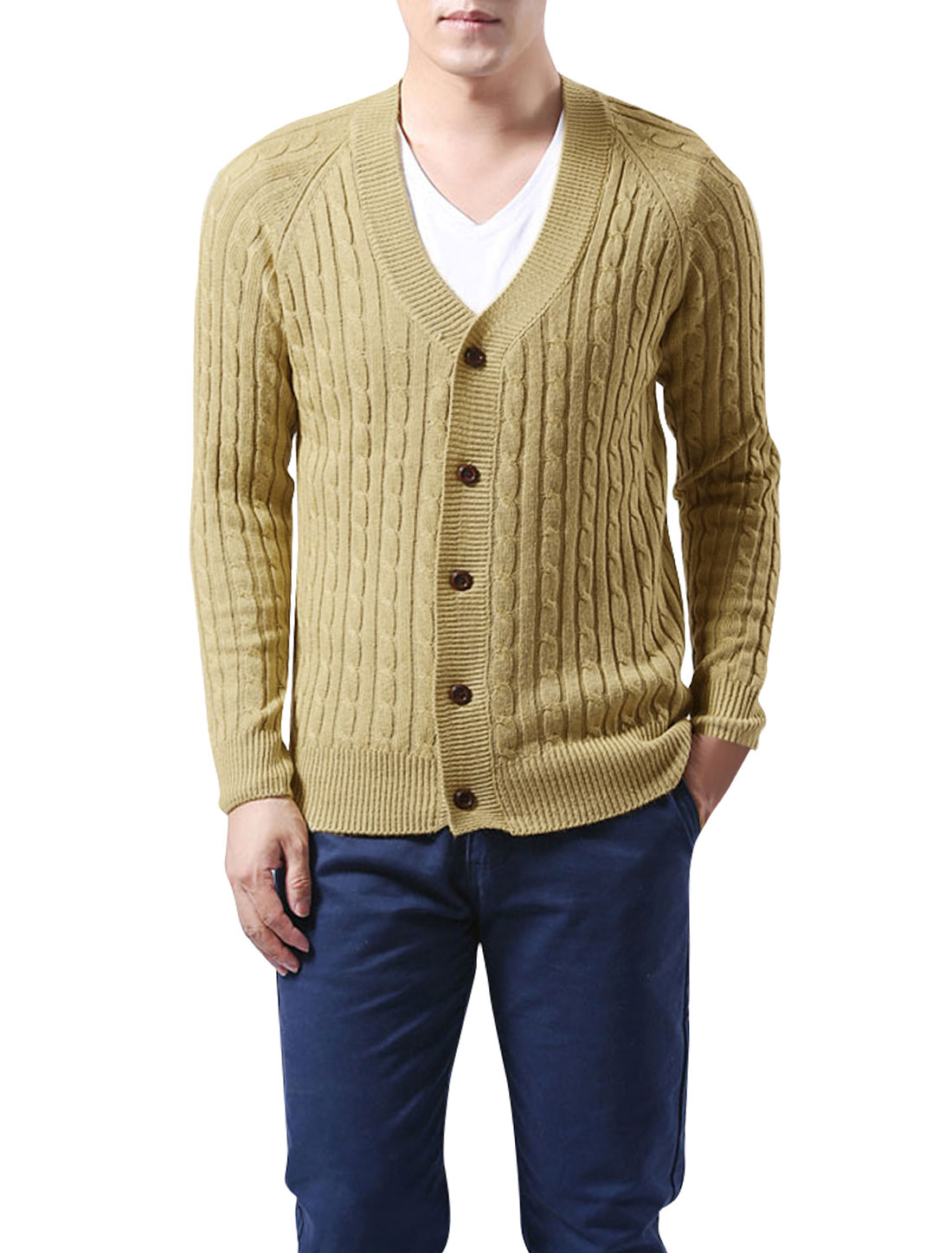 Man V Neck Long Raglan Sleeve Light Yellow Button Down Cardigan Sweater M