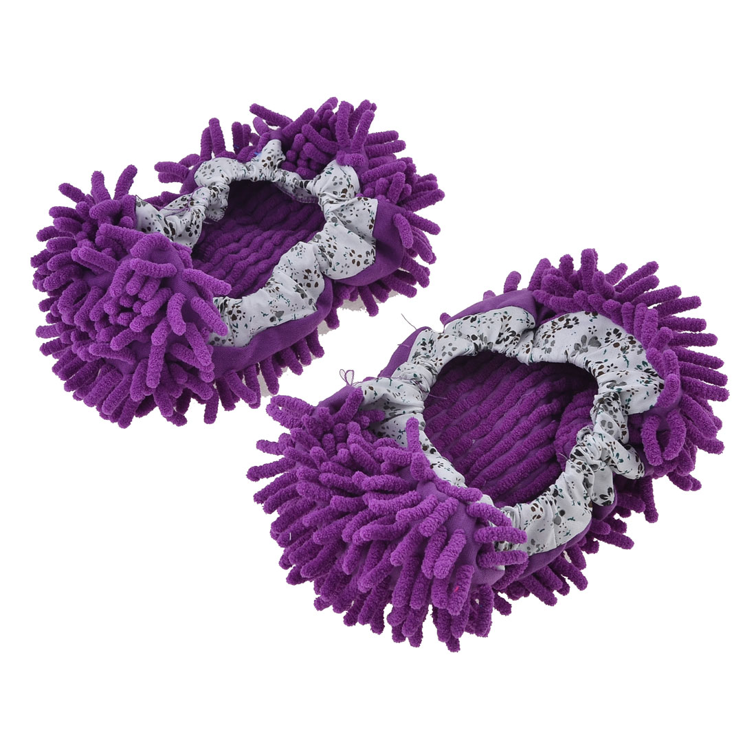 2pcs Home Floor Polished Dust Cleaning Foot Socks Shoes Mop Slippers Purple