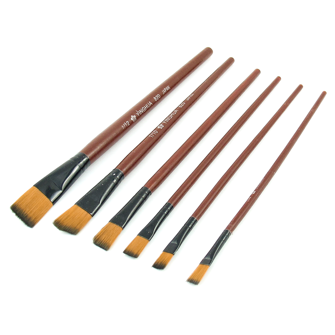 Dark Brown Wood Handle Artist Art Oil Painting Paint Brushes 6 in 1 Set