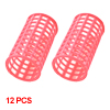 12 Pcs Pink Plastic DIY Hairdressing Styling Roller Curlers Clips