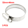 3 Pcs 32mm-44mm Adjustable Stainless Steel Worm Drive Hose Clamps