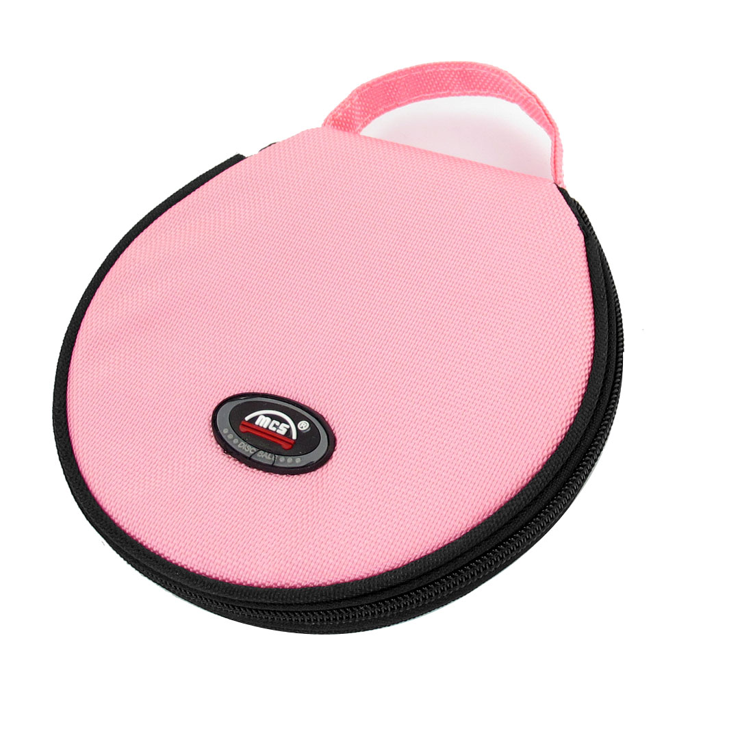 Family Car Round Shaped 20 Pieces CD VCD Disc Zip up Holder Bag Black Pink