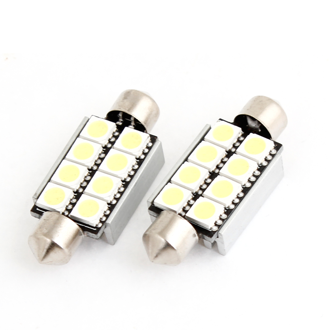 2 Pcs 42mm Canbus Error Free White 8 5050 SMD LED Festoon Dome Lights internal