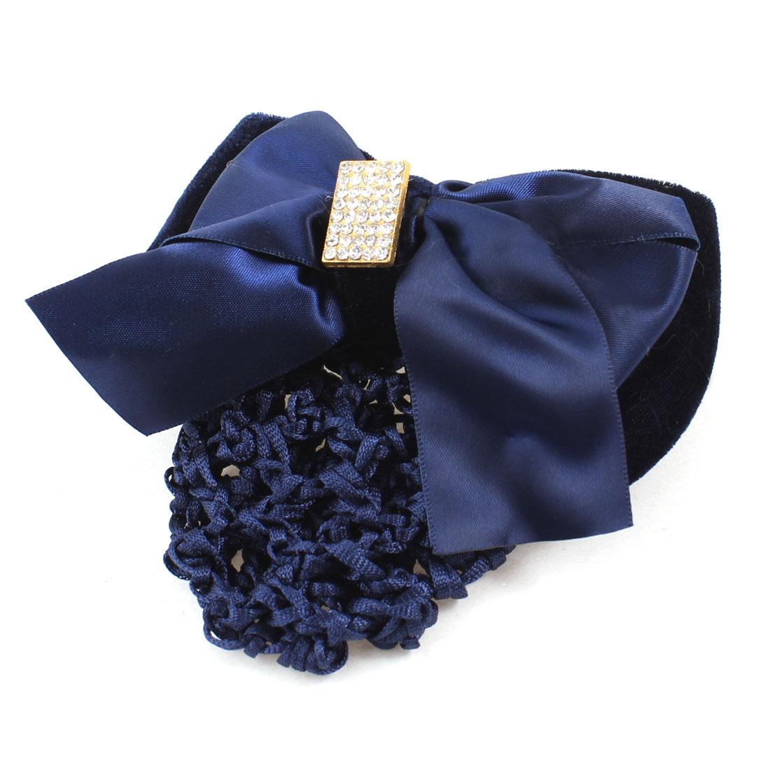 Lady Rhinestones Bowknot Barrette Nylon Snood Net French Hairclip Black Blue