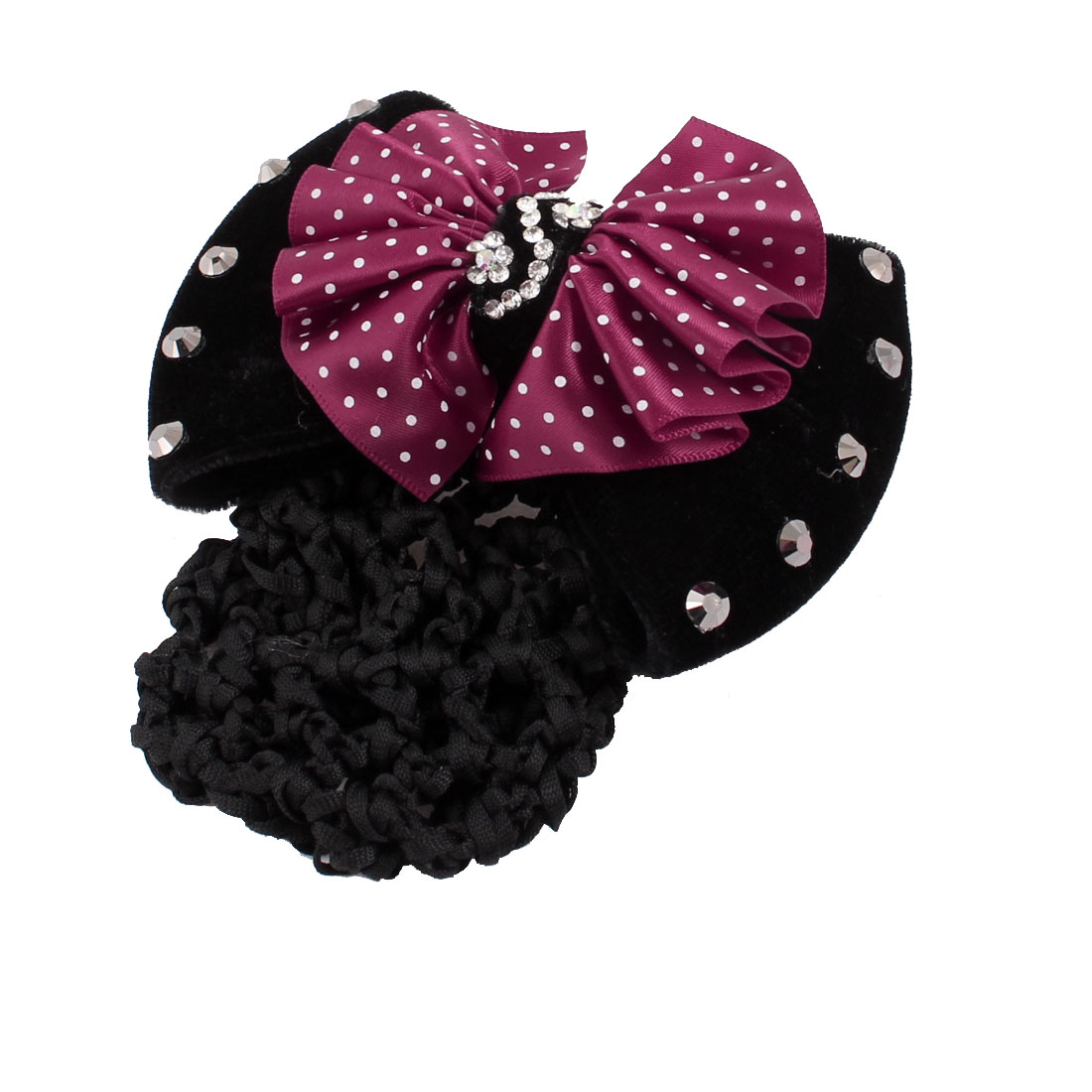 Lady Black Burgundy Double Bow Tie Detail French Barrette Hair Clip w Snood Net