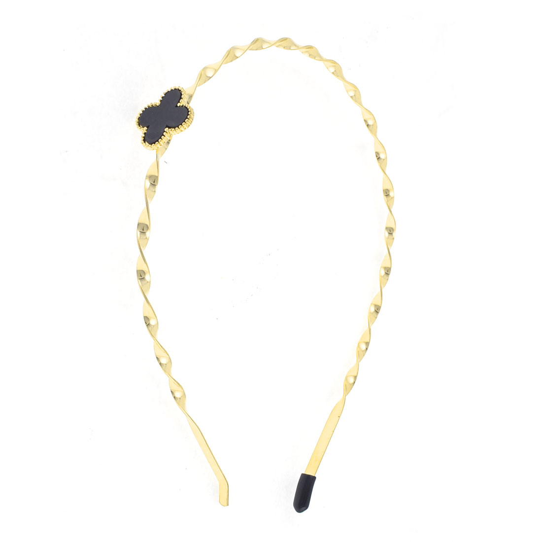 Gold Tone Black Four Leaf Clover Detail Metal Hairband Headband for Lady