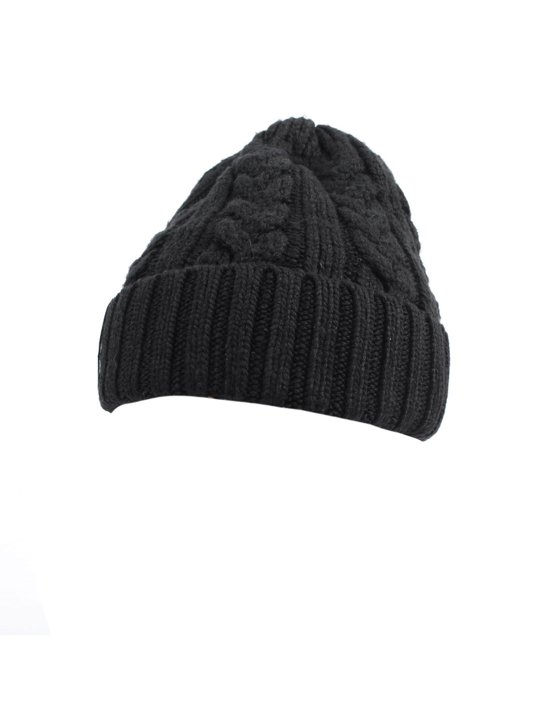 Women Winter Warm Ribbed Braided Acrylic Beanie Hat Cap Black