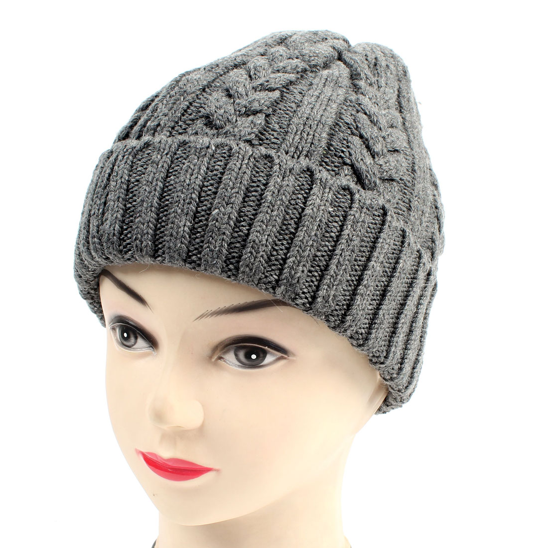 Winter Gray Ribbed Braided Crochet Beanie Hat Cap for Woman