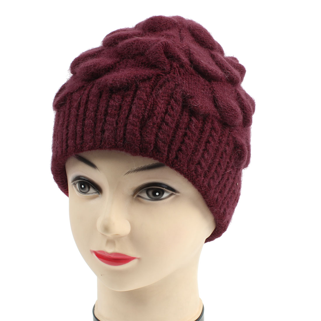 Winter Warm Burgundy Ribbed Knitted Pineapple Hat Beanie Cap for Ladies