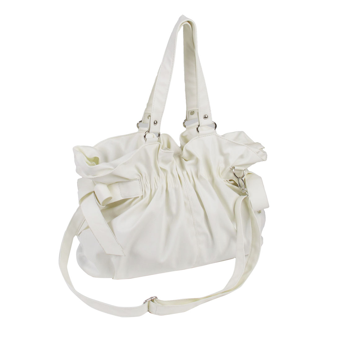 Woman Detachable Strap Nylon Lining Zip up Off-White Mini Shoulder Handbag
