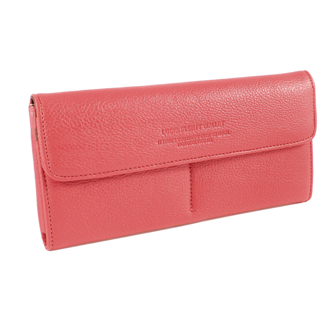 Women Lichee Pattern Faux Leather Press Stud 3 Compartments Wallet Purse Watermelon Red