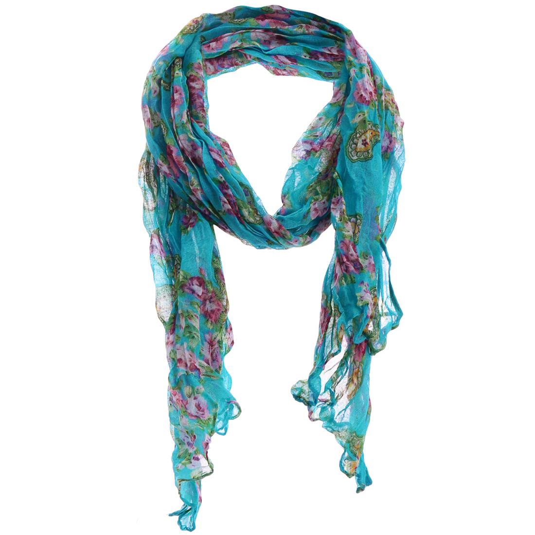 Ladies Coat Decor Floral Prints Stylish Sea Blue Scarf