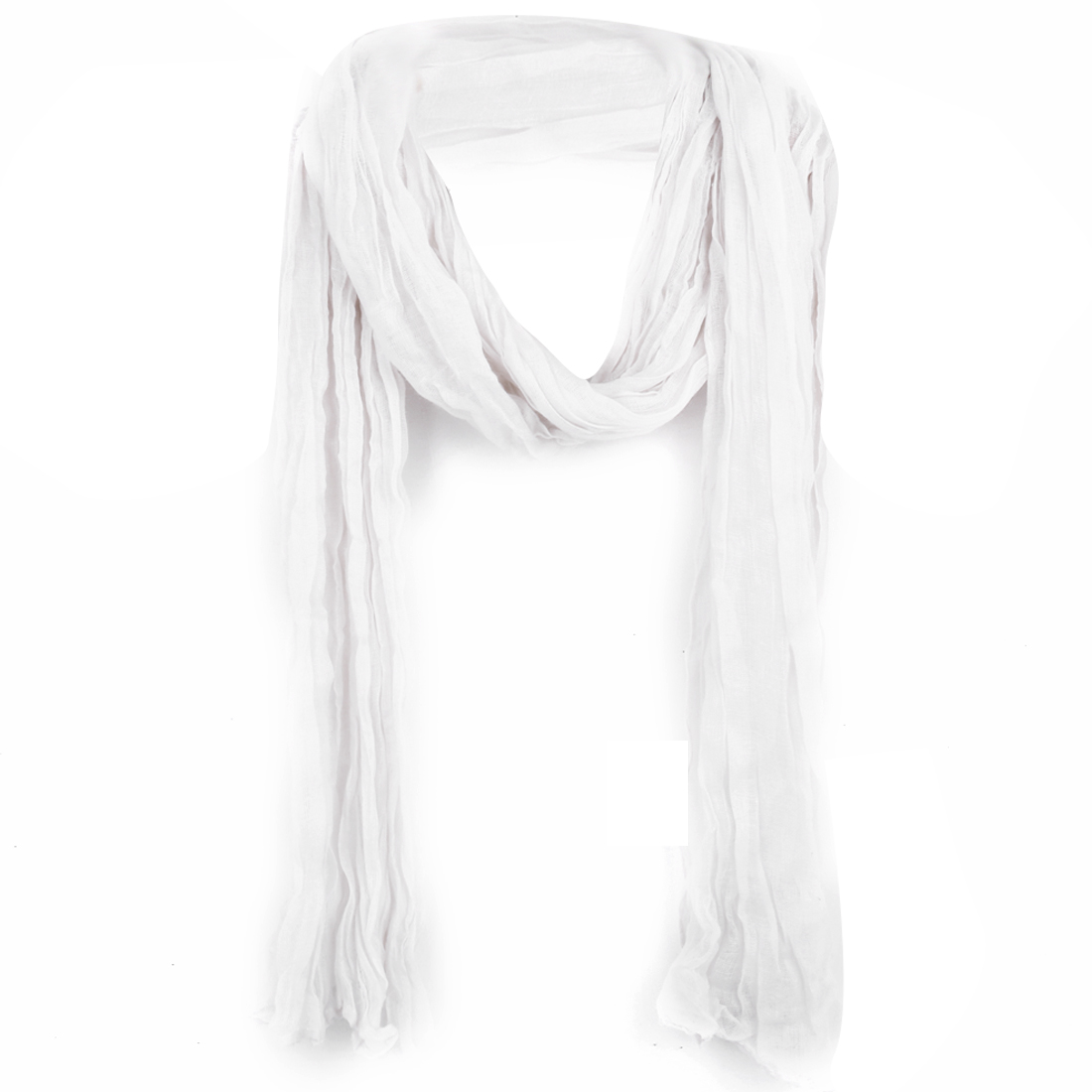 Women Hollow Out Semi Sheer Warm Winter Scarf White