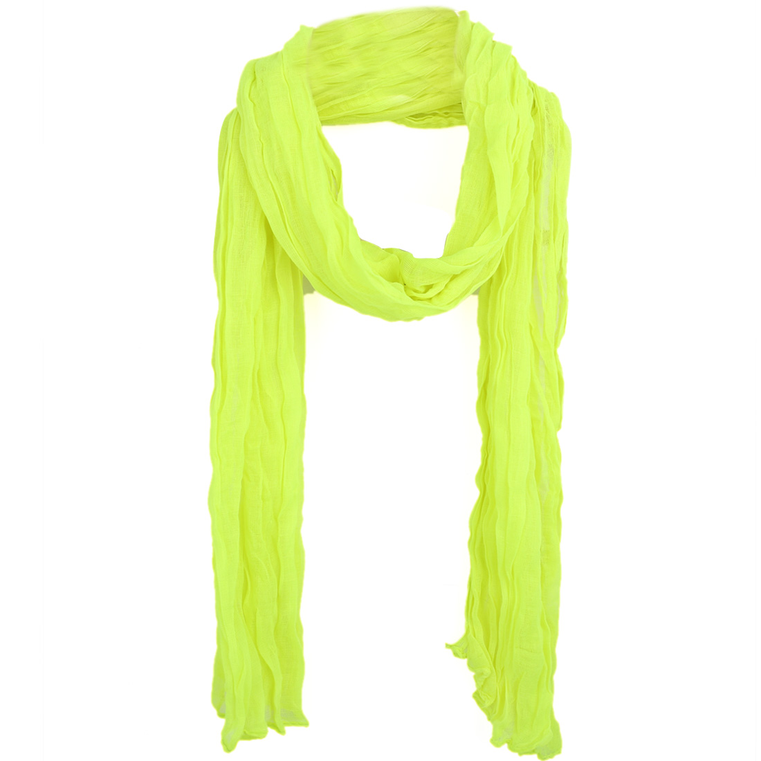 Women Solid Color Fashionable Pleated Scarf Lime