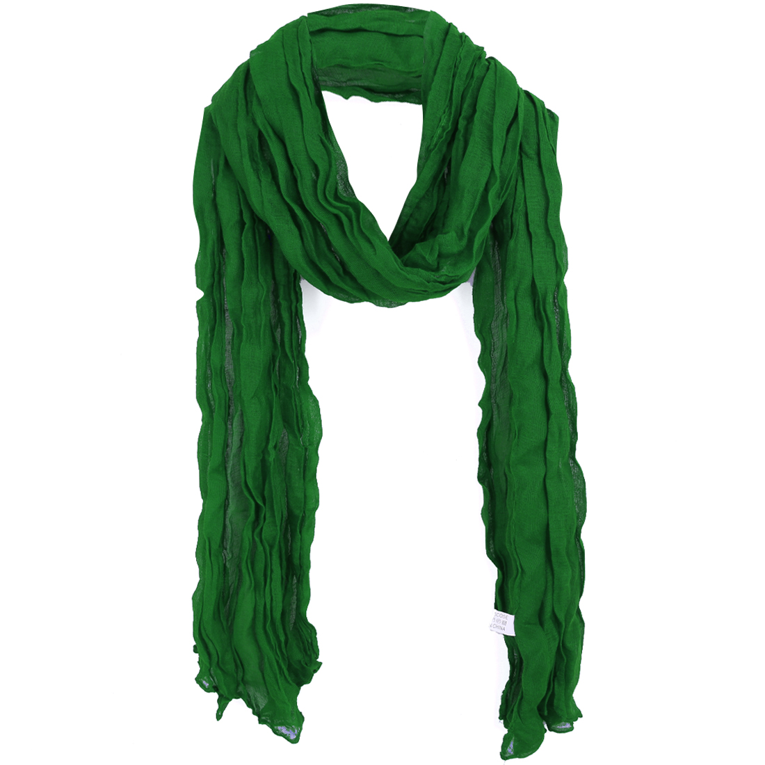 Women Pleated Neck Ornament Simple Scarf Dark Green