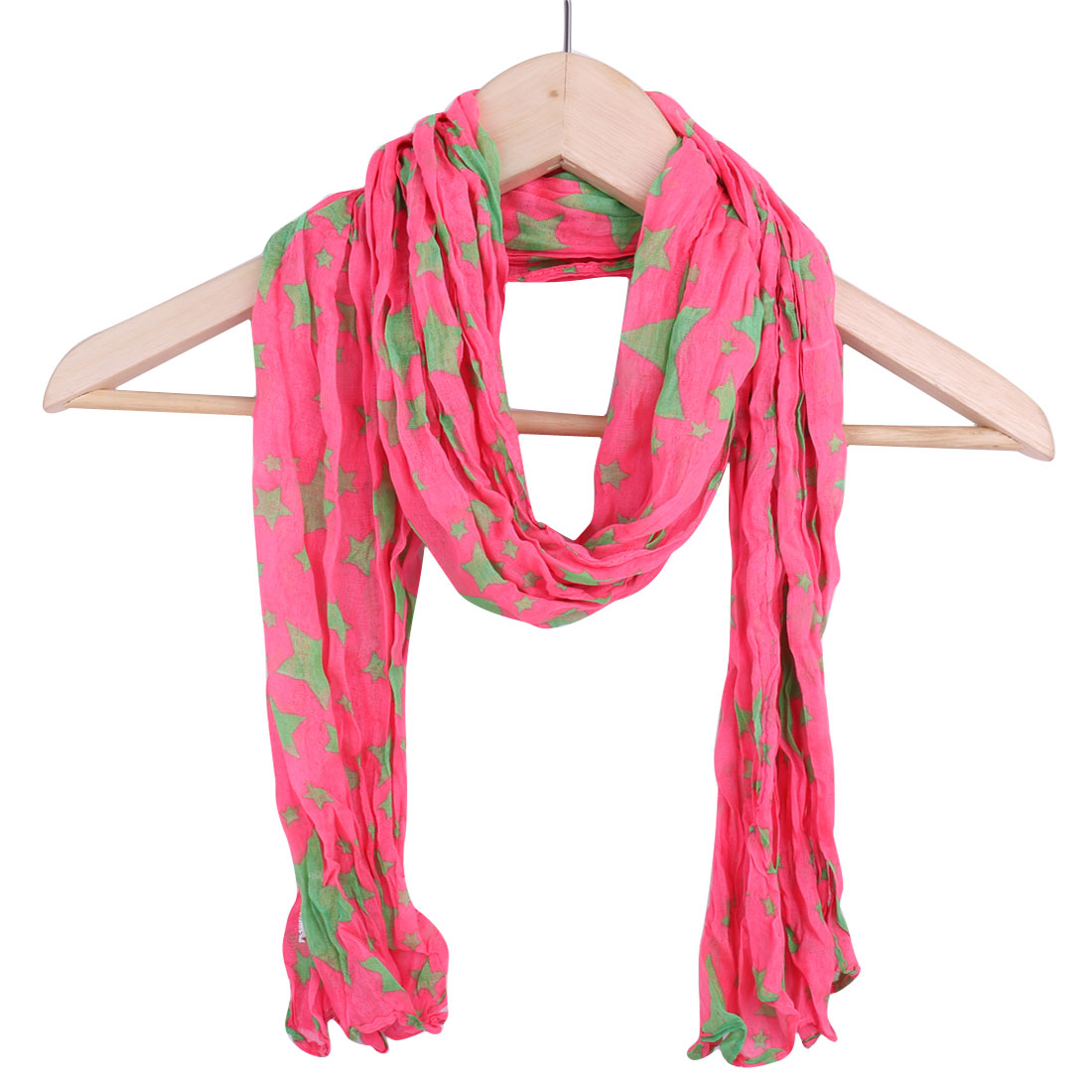 Women Stars Prints Classic Soft Scarf Hot Pink Light Green