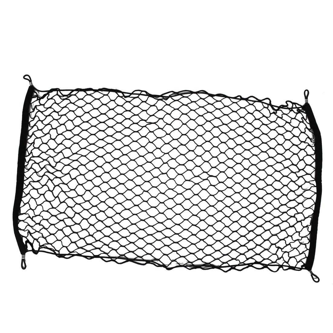 100cm x 57cm Black Nylon Elastic Luggage Storage Net for Car Trunk