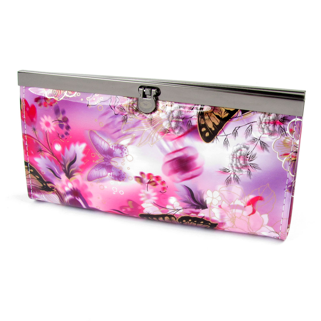 Women Purple Butterfly Pattern Flip Lock Closure Purse Wallet