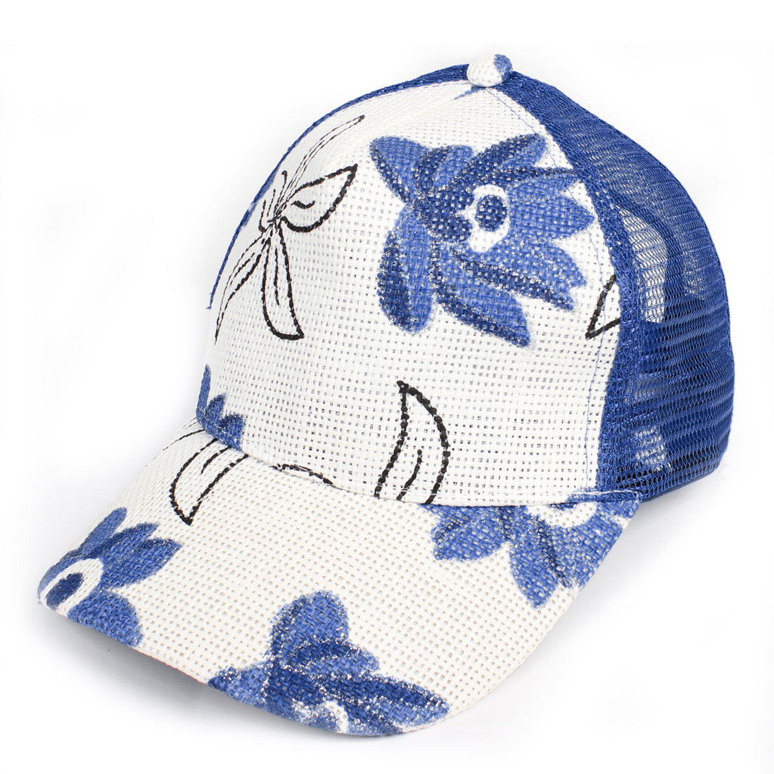 Blue White Bauhinia Printed Sun Visor Straw Baseball Hat Cap for Lady