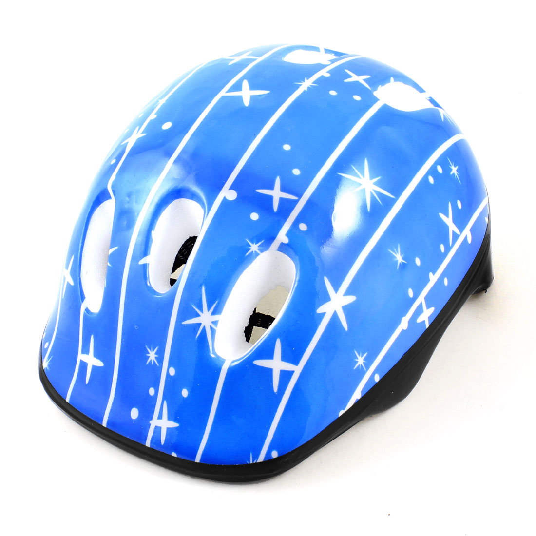 Adults Adjustable Strap Dot Pattern Foam Cycling Bike Helmet Blue