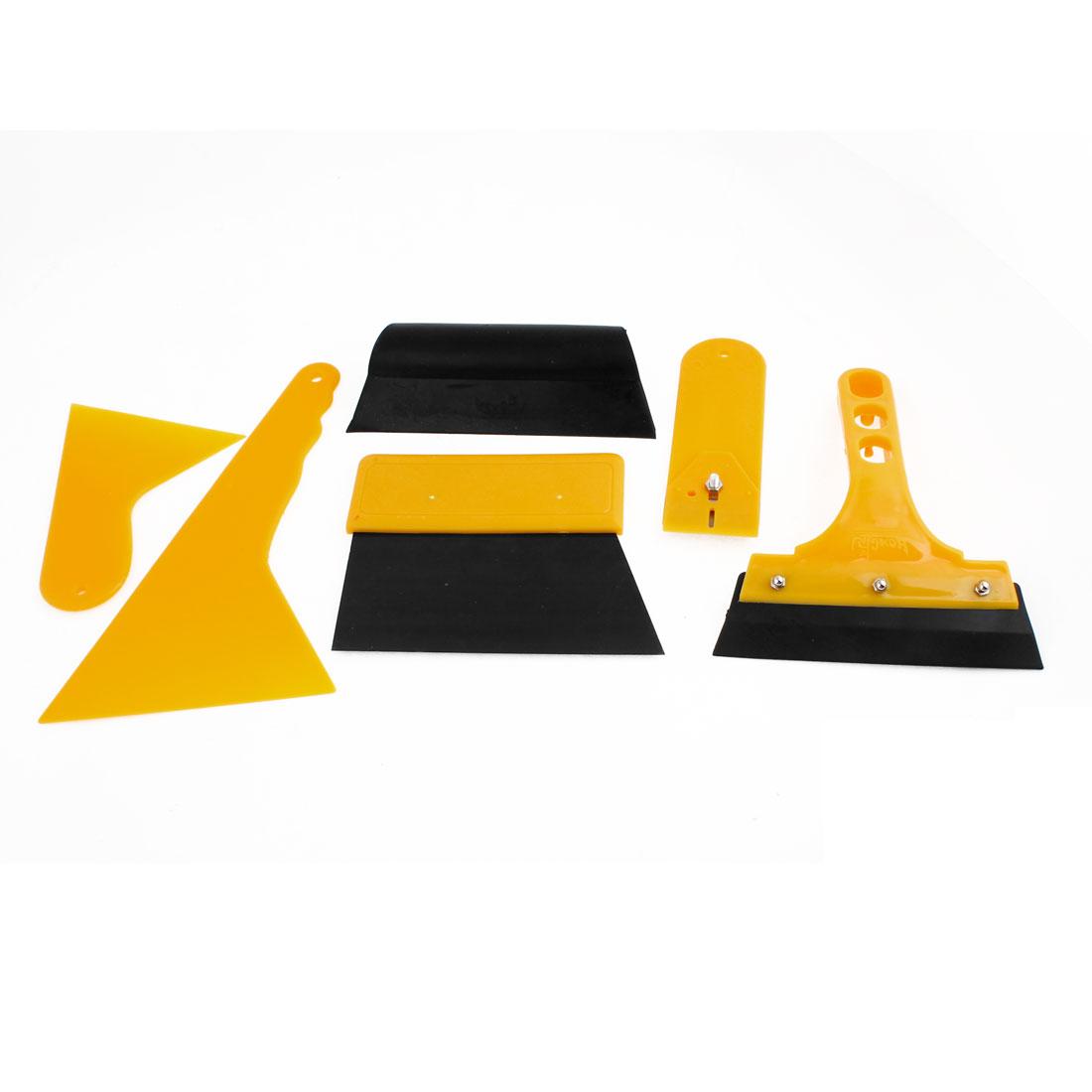 6 in 1 Blade Cutter Glass Wiper Film Scraper Installation Tool Yellow for Car