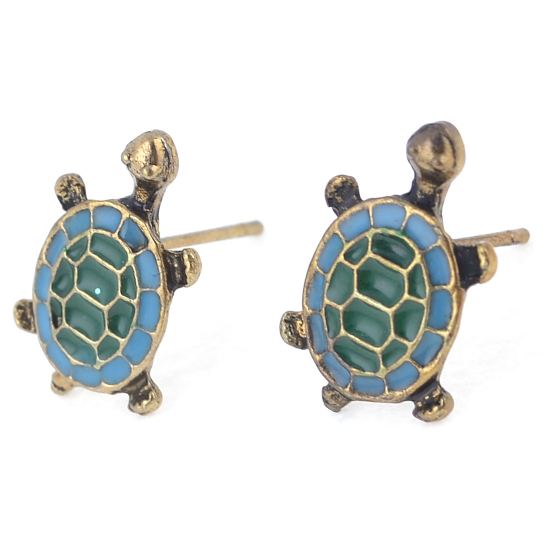Lady Ear Decor Bronze Tone Blue Tortoise Design Stud Earrings Pair