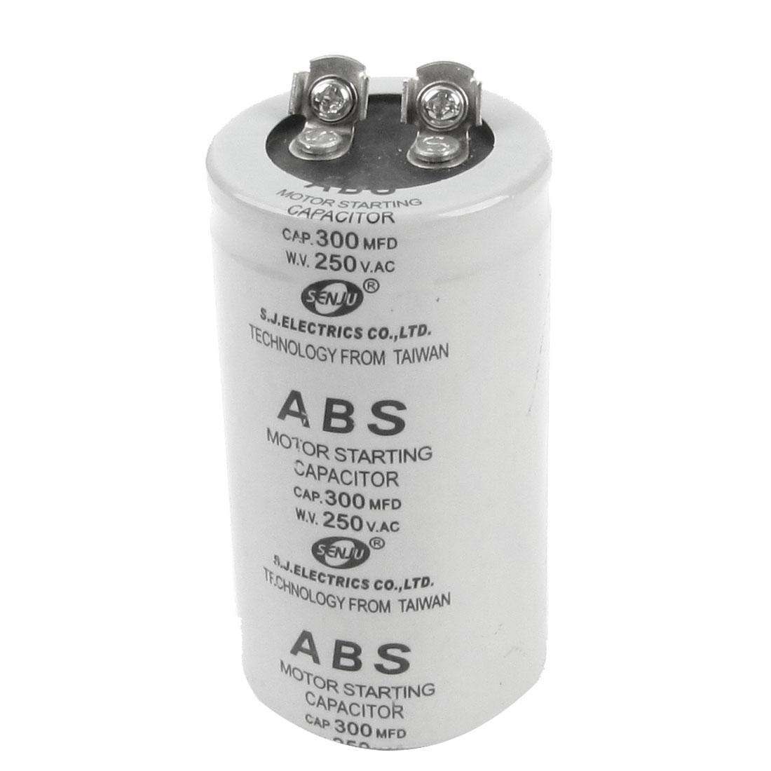 AC 250V 300MFD 300uF Capacitance Round Motor Starting Capacitor Gray