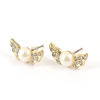 Women Rhinestone Plastic Imitation Pearl Decor Gold Tone Stud Earrings Pair