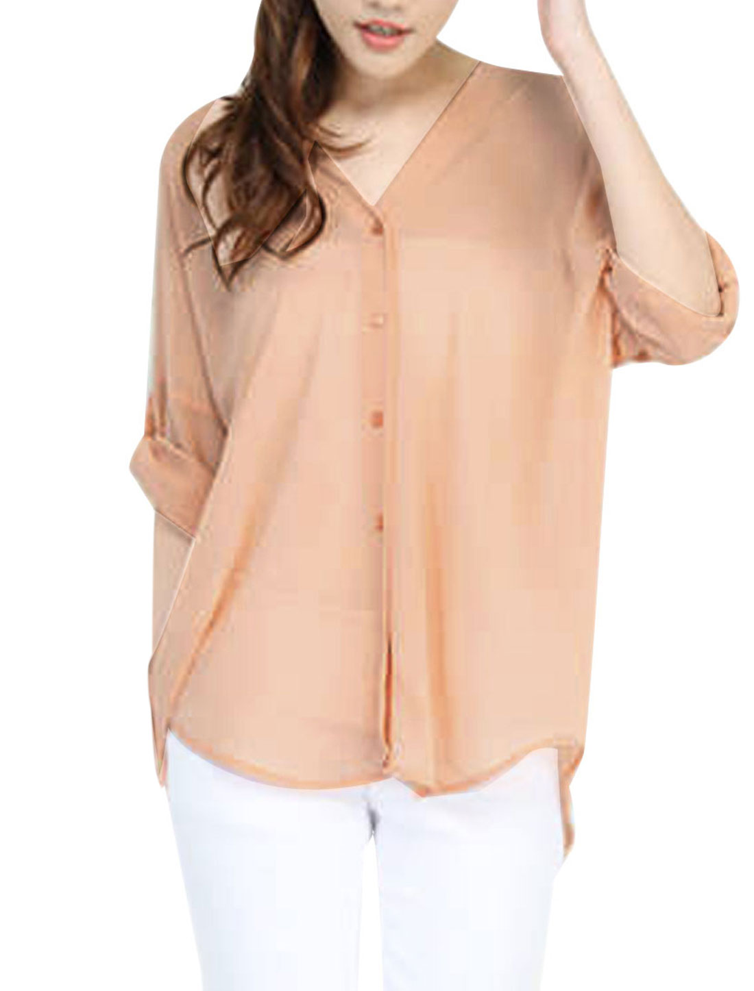 Women's Batwing Roll Up Sleeve Button Front Semi-sheer Chiffon Pale Pink Shirt S